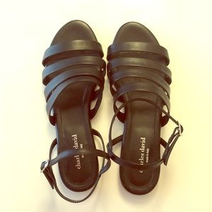 CHARLES DAVID Black leather strapped sandals